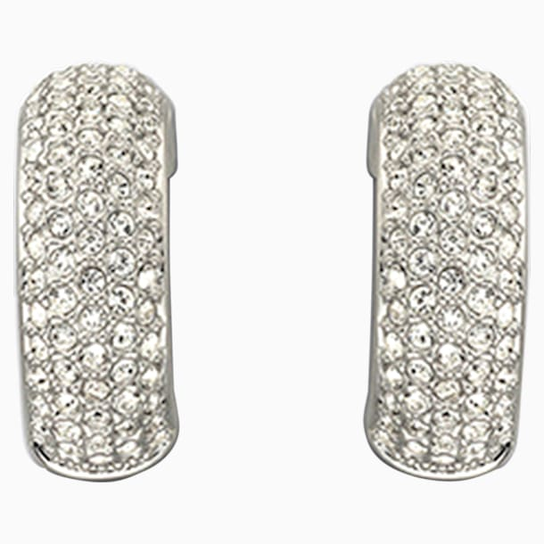 Palace Clip Earrings, White, Rhodium plated - Swarovski, 1144625