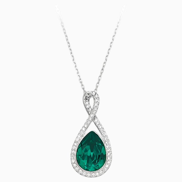 Showbiz Pendant, Green, Rhodium plated - Swarovski, 1157964