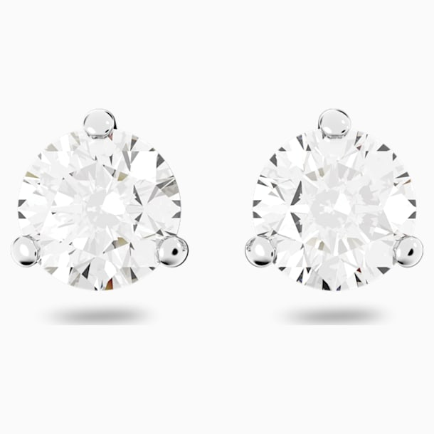 Solitaire Pierced Earrings, White, Rhodium plated - Swarovski, 1800046