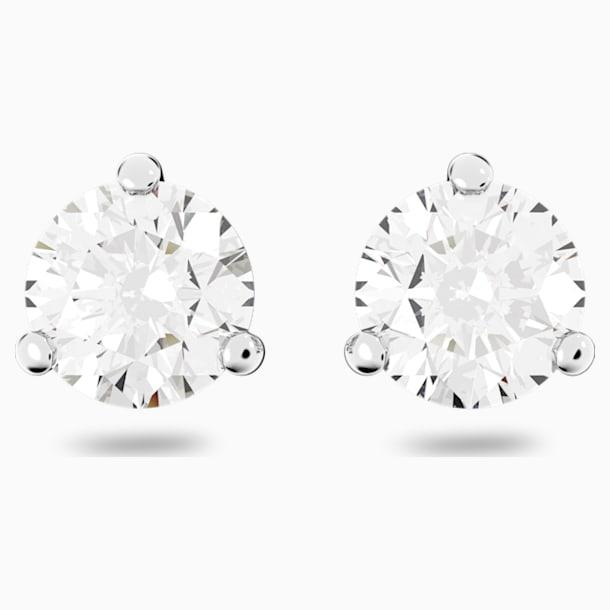 Solitaire 穿孔耳环, 白色, 镀铑 - Swarovski, 1800046