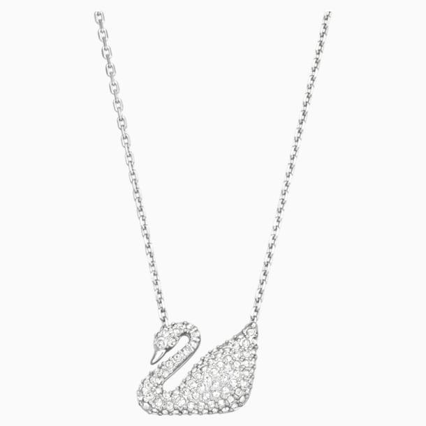Swan Necklace, White, Rhodium plated - Swarovski, 5007735