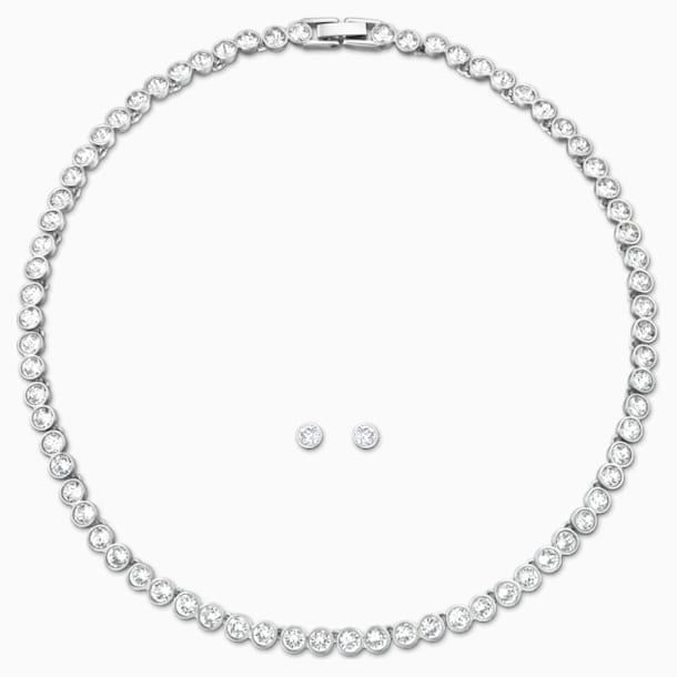 Tennis szett, fehér, ródium bevonattal - Swarovski, 5007747