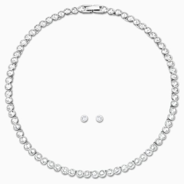 Tennis Set, White, Rhodium plated - Swarovski, 5007747