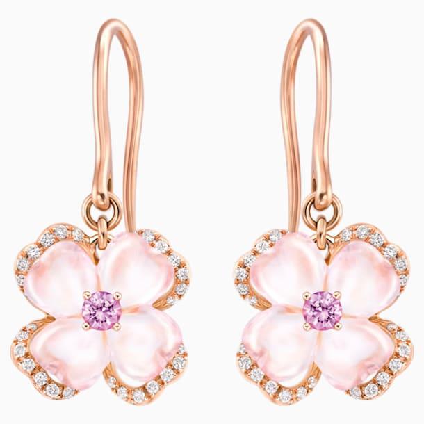 天竺绮梦18K玫瑰金芙蓉石粉紅蓝宝石钻石耳环 - Swarovski, 5009719