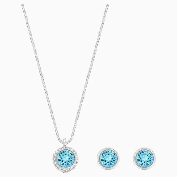 Flirt Set, Blue, Rhodium plated - Swarovski, 5030716