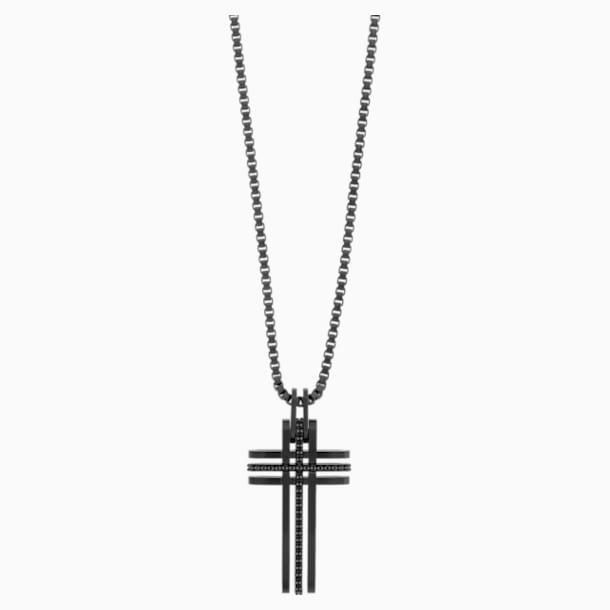 Bengal Cross Pendant, Black, Black PVD - Swarovski, 5070473