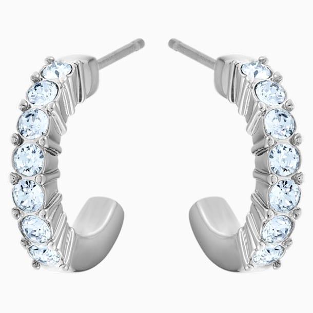 Mini Hoop Pierced Earrings, Blue, Rhodium plated - Swarovski, 5073036