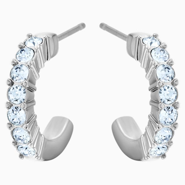 Mini Hoop Pierced Earrings, Blue, Rhodium plated - Swarovski, 5073036