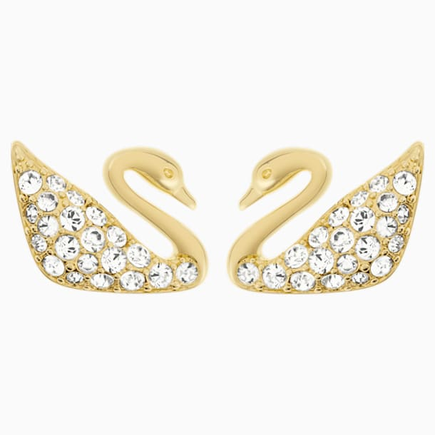 Swan Mini Pierced Earrings, White, Gold-tone plated - Swarovski, 5083132