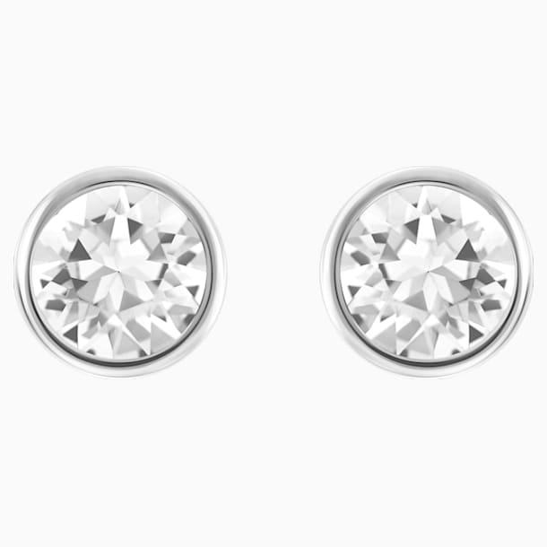 Solitaire bedugós fülbevaló, fehér, ródium bevonattal - Swarovski, 5101338