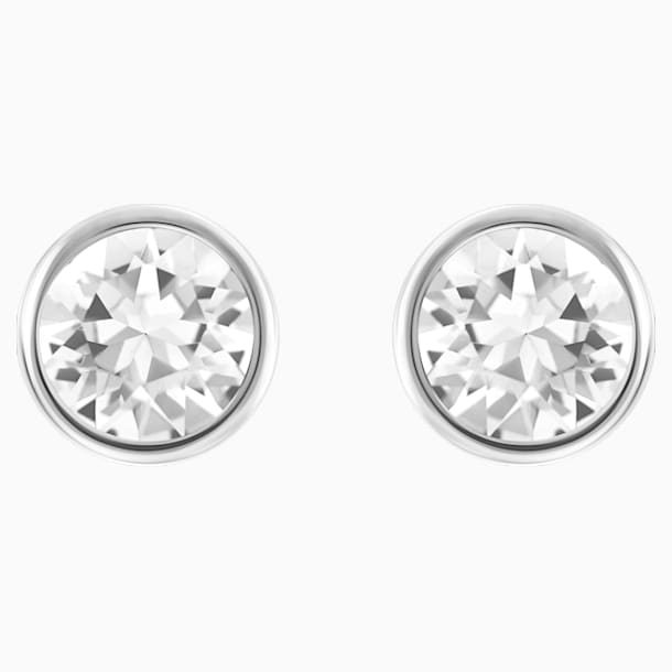 Solitaire Pierced Earrings, White, Rhodium plated - Swarovski, 5101338