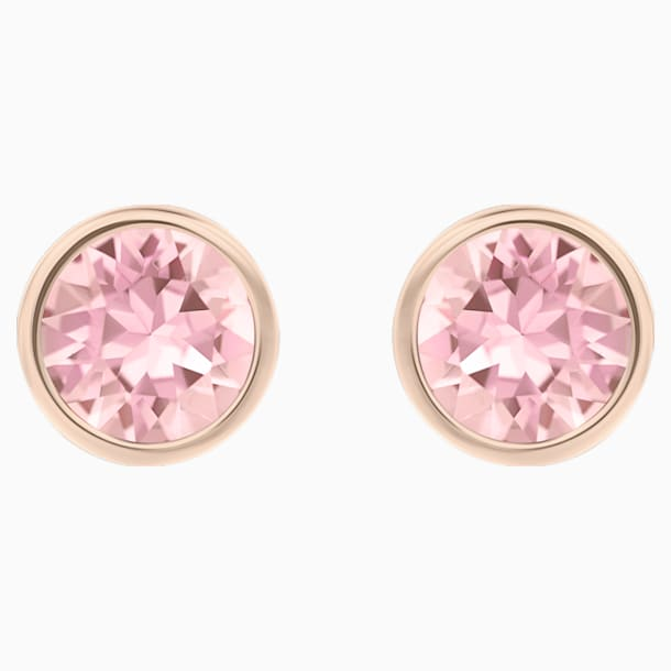 Solitaire Pierced Earrings, Pink, Rose-gold tone plated - Swarovski, 5101339