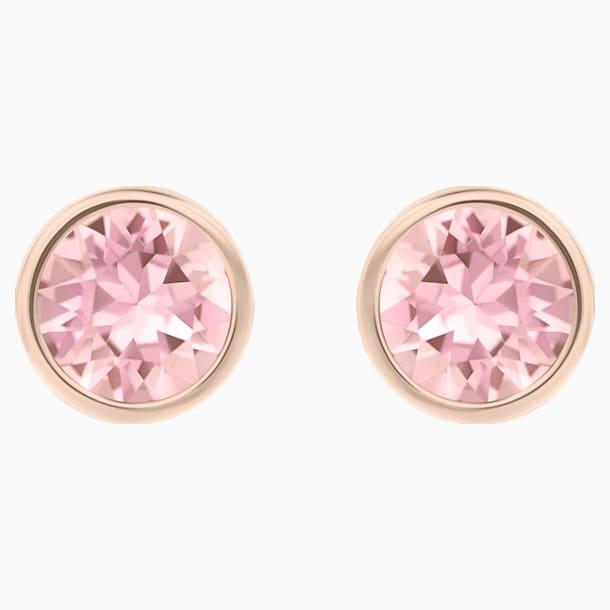Solitaire Pierced Earrings, Pink, Rhodium plated - Swarovski, 5101339