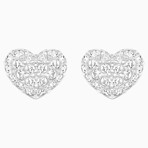 Heart 穿孔耳环, 白色, 镀铑 - Swarovski, 5109990