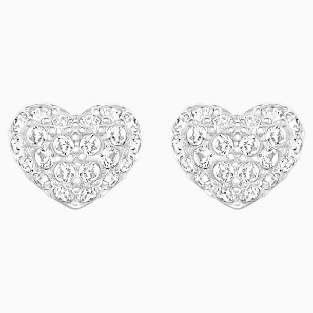 Heart Pierced Earrings, White, Rhodium plated - Swarovski, 5109990