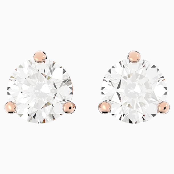 Solitaire Pierced Earrings, White, Rose-gold tone plated - Swarovski, 5112156