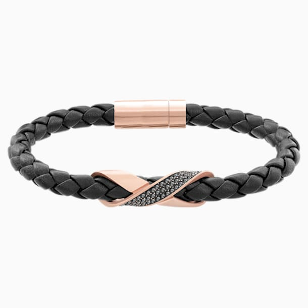Cross Signature Bracelet, Leather, Black, Rose-gold tone plated - Swarovski, 5115156
