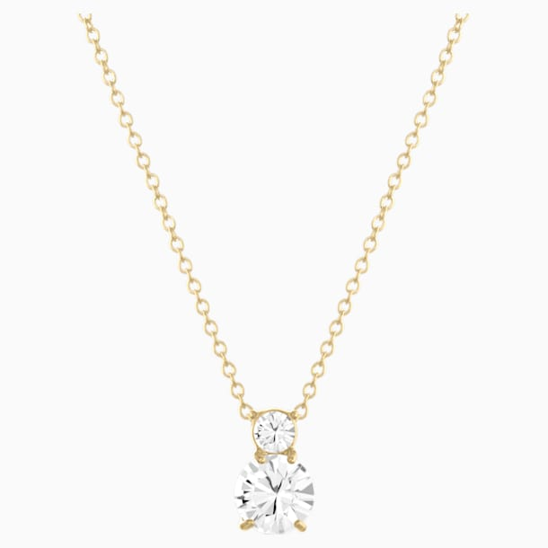 Solitaire Double Pendant, White, Gold-tone plated - Swarovski, 5120647