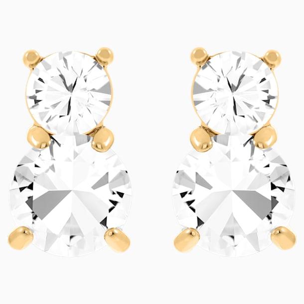 Pendientes Solitaire Double, blanco, Baño en tono Oro - Swarovski, 5128809