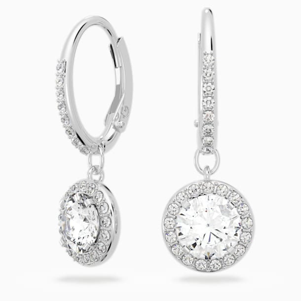 Angelic Pierced Earrings, White, Rhodium plated - Swarovski, 5142721