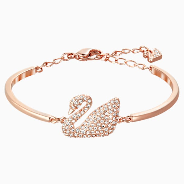 Kruhový náramek Swan, Bílý, Pozlacený růžovým zlatem - Swarovski, 5142752