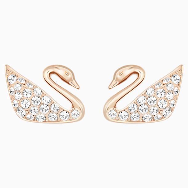 Brincos para orelhas furadas Swan, brancos, banhados com tom rosa dourado - Swarovski, 5144289