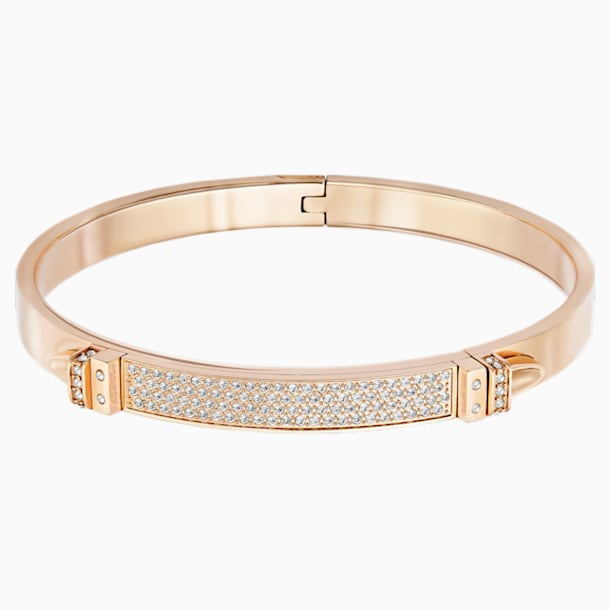 Bracelet-jonc Distinct, blanc, Métal doré rose - Swarovski, 5152481