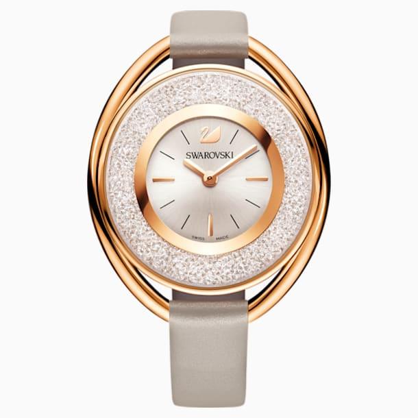 Crystalline Oval Watch, Leather strap, Grey, Rose-gold tone PVD - Swarovski, 5158544