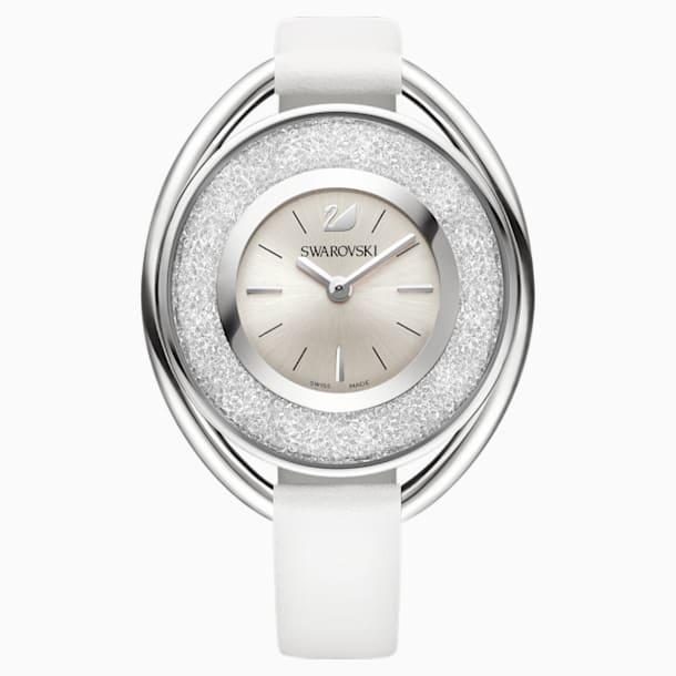 Crystalline Oval Watch, Leather strap, White, Silver tone - Swarovski, 5158548