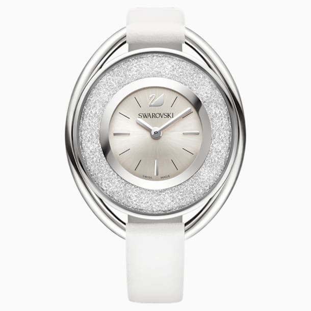 Crystalline Oval Watch, Leather strap, White, Silver tone - Swarovski, 5158548
