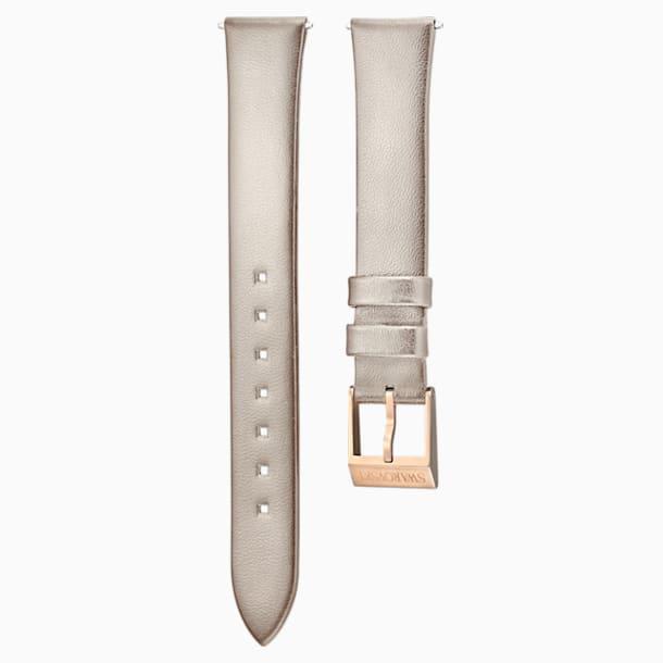 12mm Watch strap, Leather, Light gray, Rose-gold tone plated - Swarovski, 5159361