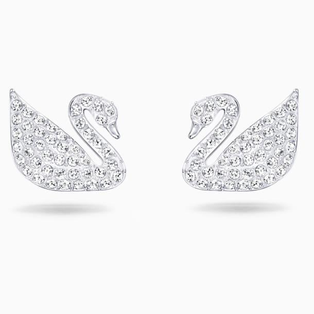 Swan Pierced Earrings, White, Rhodium plated - Swarovski, 5161256