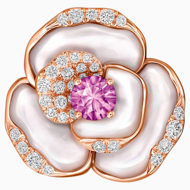 天竺绮梦18K玫瑰金粉紅蓝宝石貝壳钻石链坠 - Swarovski, 5182457