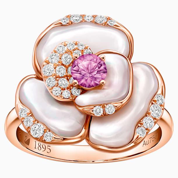 天竺绮梦18K玫瑰金粉紅蓝宝石貝壳钻石戒指 - Swarovski, 5182458