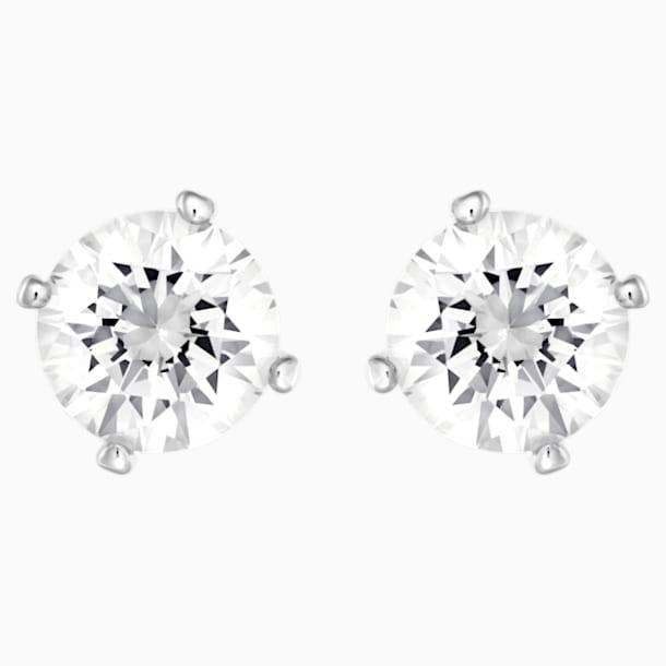 Attract Pierced Earrings, White, Rhodium plated - Swarovski, 5183618