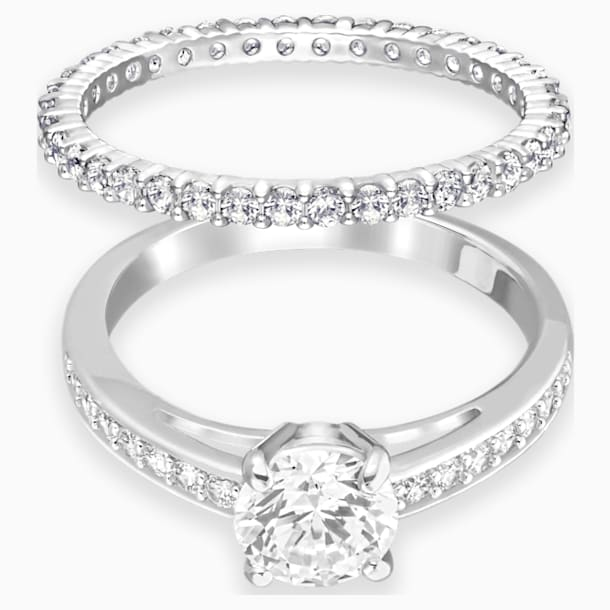 Attract Ring Set, White, Rhodium plated - Swarovski, 5184980