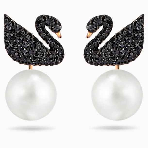 Swarovski Iconic Swan Pierced Earring Jackets, Black, Rose-gold tone plated - Swarovski, 5193949