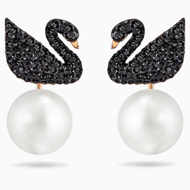 Swarovski Iconic Swan Pierced Earring Jackets, Black, Rose-gold tone plated - Swarovski, 5193949