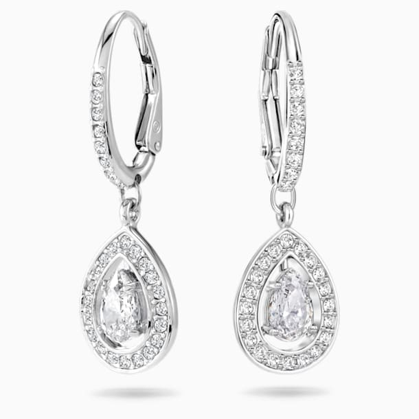 Attract Pierced Earrings, White, Rhodium plated - Swarovski, 5197458