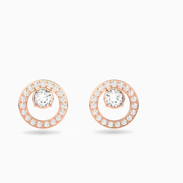 Kolczyki sztyftowe Creativity Circle, białe, powłoka w odcieniu różowego złota - Swarovski, 5199827