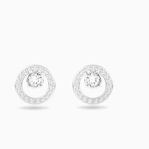 Creativity Circle Pierced Earrings, White, Rhodium plated - Swarovski, 5201707