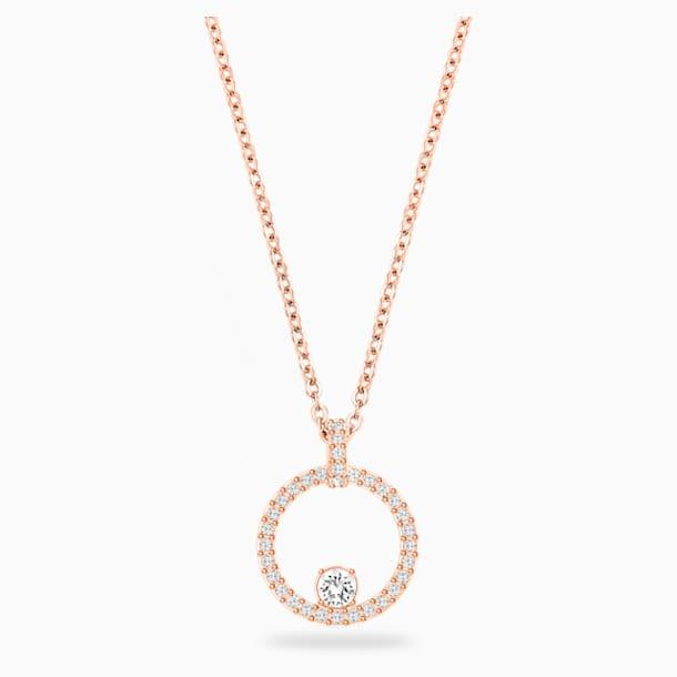 Kruhový přívěsek Creativity, bílý, pozlacený růžovým zlatem - Swarovski, 5202446