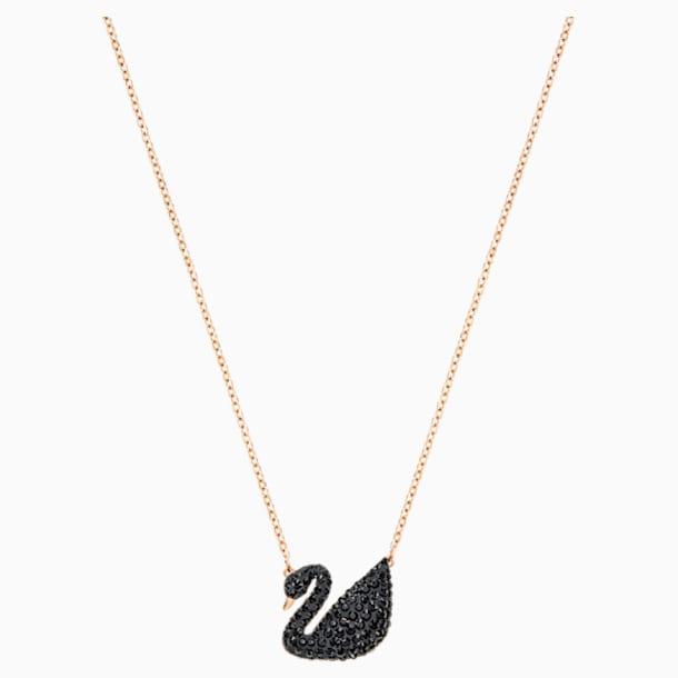 Swarovski Iconic Swan Pendant, Black, Rose-gold tone plated - Swarovski, 5204134
