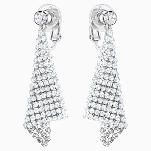 Fit Clip Earrings, White, Rhodium plated - Swarovski, 5214317