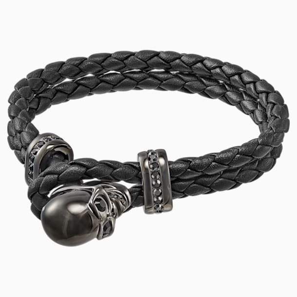 Fran Bracelet, Leather, Black, Gun Metal plated - Swarovski, 5217218