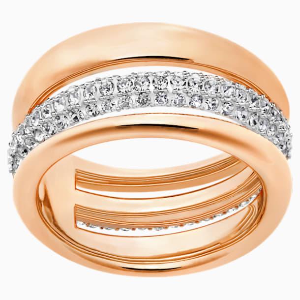 Exact Ring, White, Rose-gold tone plated - Swarovski, 5221567