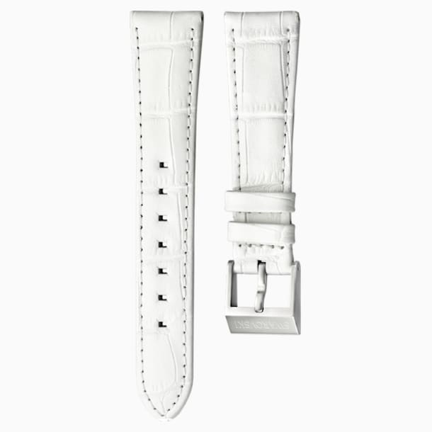 Bracelet de montre 18mm, cuir avec coutures, blanc, acier inoxydable - Swarovski, 5222595