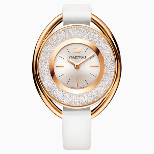 Crystalline Oval Watch, Leather strap, White, Rose-gold tone PVD - Swarovski, 5230946