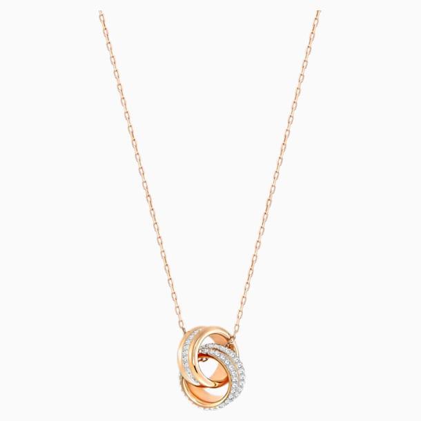 Μενταγιόν Further, λευκό, επιχρυσωμένο σε χρυσή ροζ απόχρωση - Swarovski, 5240525
