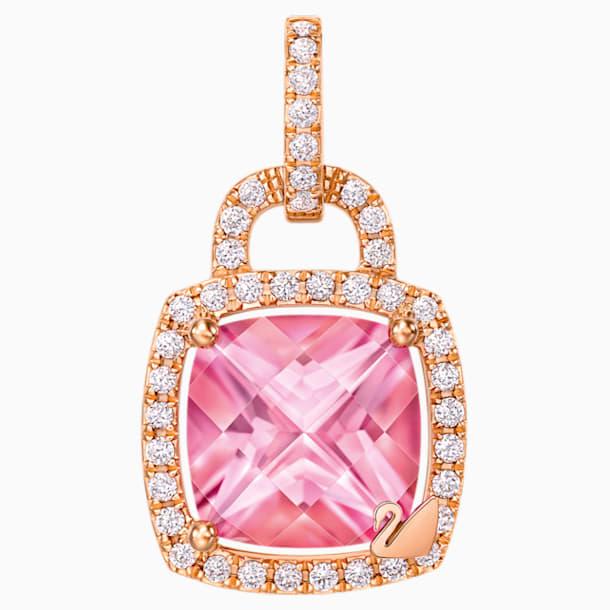同心锁18K玫瑰金粉紅托帕石 (热熔) 钻石链坠 - Swarovski, 5250003